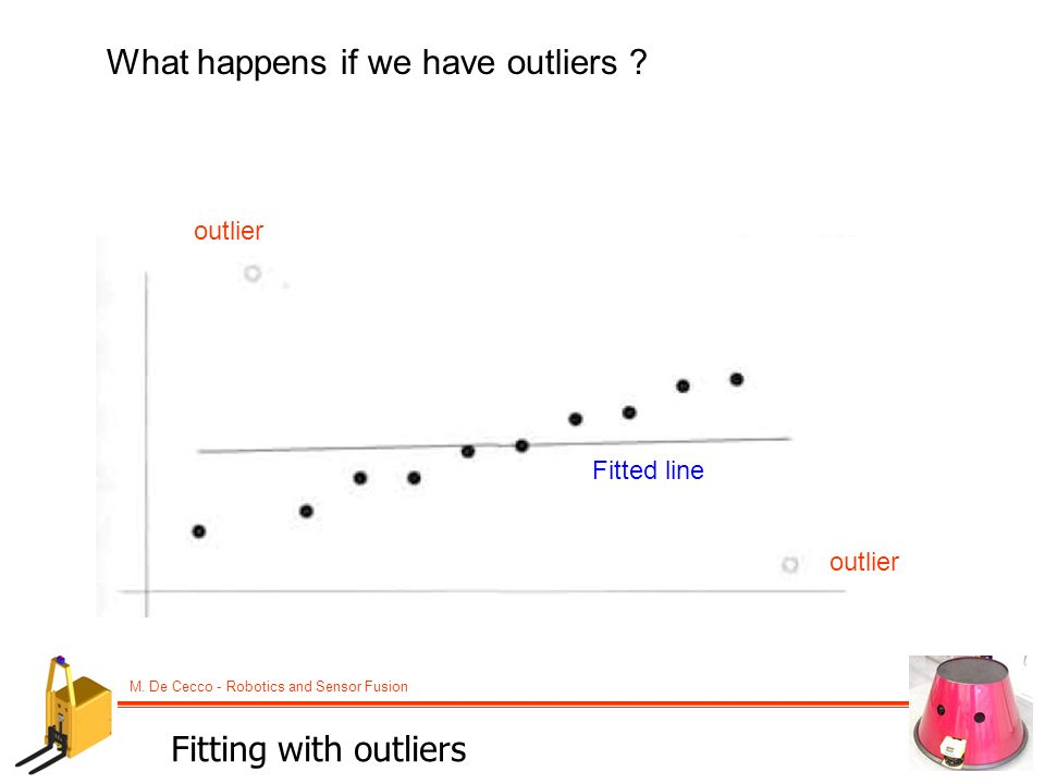 M. De Cecco - Robotics and Sensor Fusion What happens if we have outliers ? outlier Fitted line Fitting with outliers