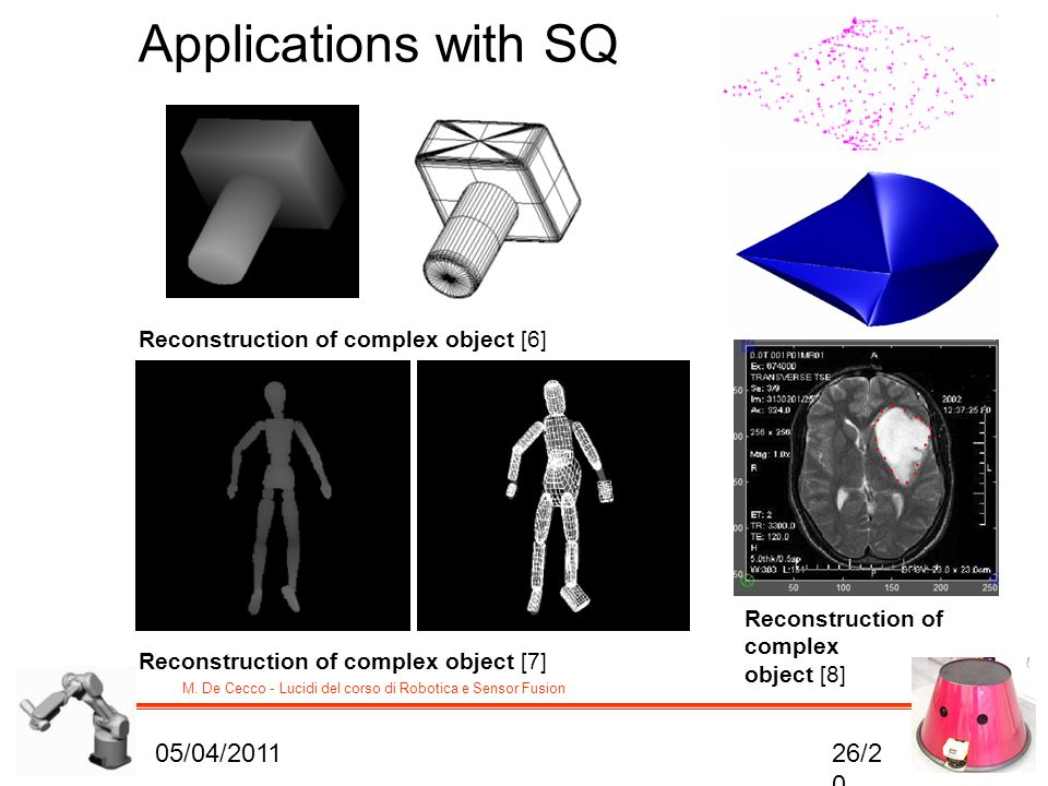 M. De Cecco - Lucidi del corso di Robotica e Sensor Fusion Reconstruction of complex object [6] Applications with SQ Reconstruction of complex object