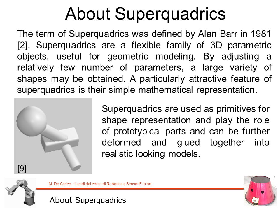 M. De Cecco - Lucidi del corso di Robotica e Sensor Fusion About Superquadrics The term of Superquadrics was defined by Alan Barr in 1981 [2]. Superqu