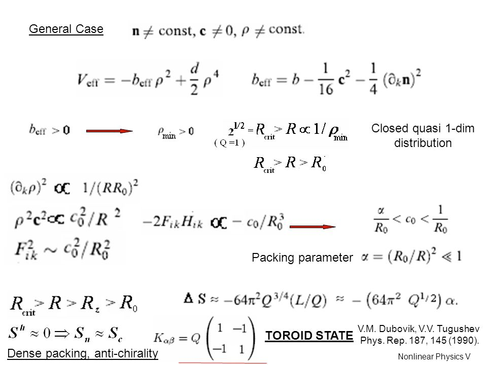 General Case Closed quasi 1-dim distribution Packing parameter TOROID STATE V.M.