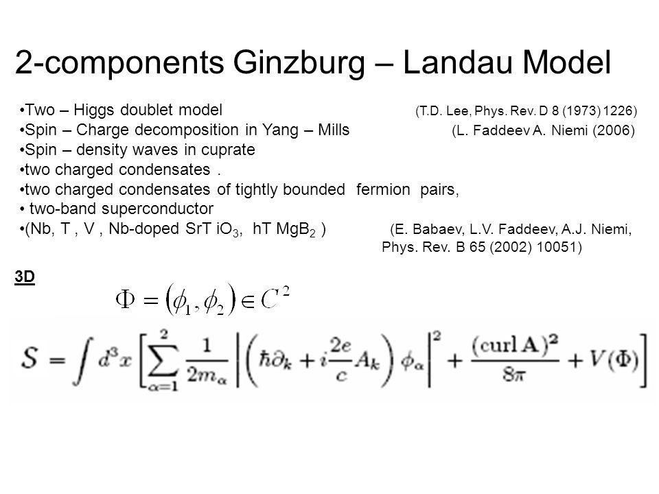 2-components Ginzburg – Landau Model 3D Two – Higgs doublet model (T.D.
