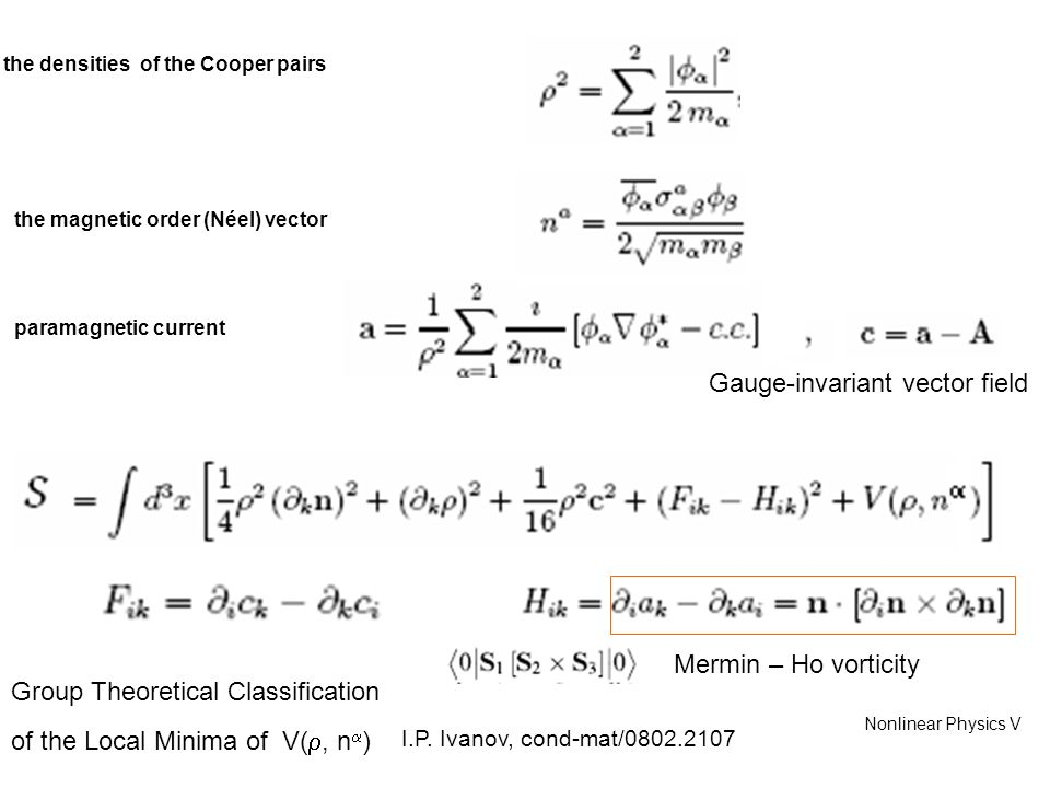 Mermin – Ho vorticity the densities of the Cooper pairs paramagnetic current Gauge-invariant vector field mass Nonlinear Physics V the magnetic order (Néel) vector Group Theoretical Classification of the Local Minima of V(, n ) I.P.