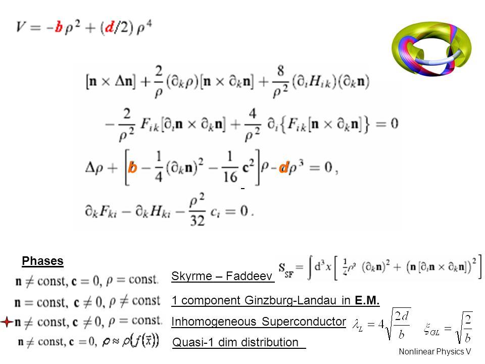 bd Phases Skyrme – Faddeev 1 component Ginzburg-Landau in E.M.