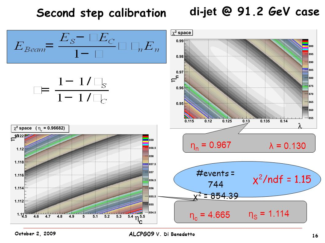 Second step calibration di-jet @ 91.2 GeV case η c = 4.665 η S = 1.114 λ = 0.130 η n = 0.967 #events = 744 χ 2 = 854.39 χ 2 /ndf = 1.15 16 ALCPG09 V.