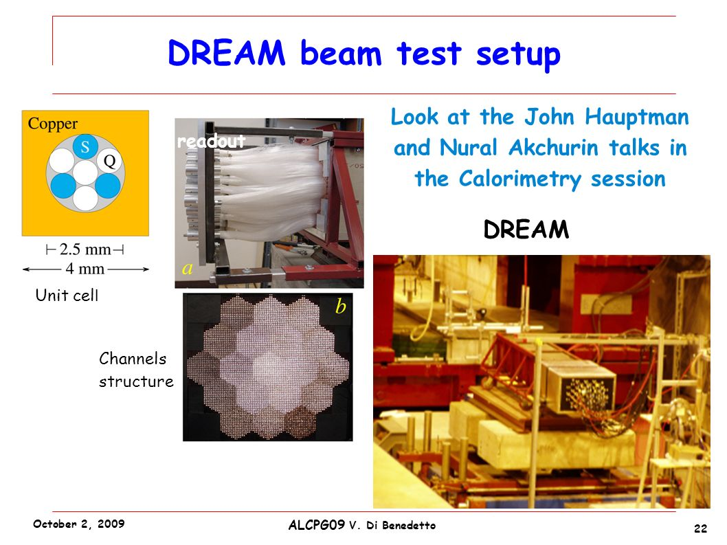 DREAM beam test setup 22 ALCPG09 V. Di Benedetto October 2, 2009 Unit cel l readout Channels structure DREAM Look at the John Hauptman and Nural Akchu