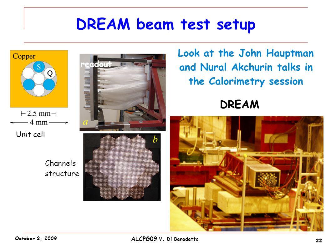 DREAM beam test setup 22 ALCPG09 V.