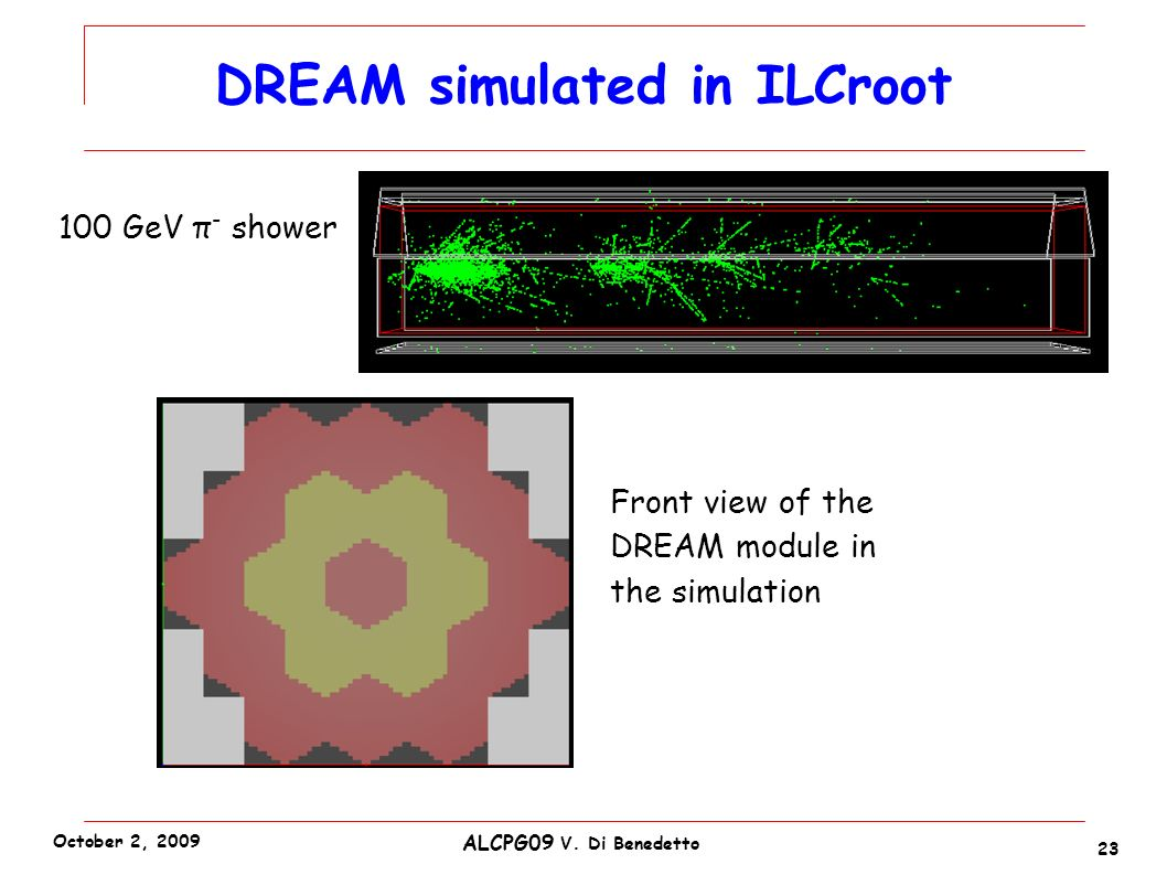 DREAM simulated in ILCroot 23 ALCPG09 V. Di Benedetto October 2, 2009 100 GeV π - shower Front view of the DREAM module in the simulation