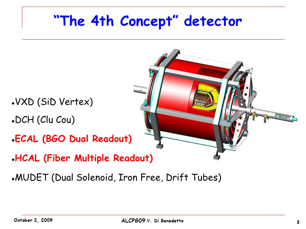 VXD (SiD Vertex) DCH (Clu Cou) ECAL (BGO Dual Readout) HCAL (Fiber Multiple Readout) MUDET (Dual Solenoid, Iron Free, Drift Tubes) The 4th Concept detector 3 ALCPG09 V.