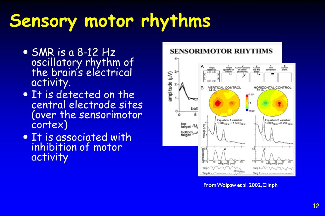 SMR is a 8-12 Hz oscillatory rhythm of the brains electrical activity. It is detected on the central electrode sites (over the sensorimotor cortex) It