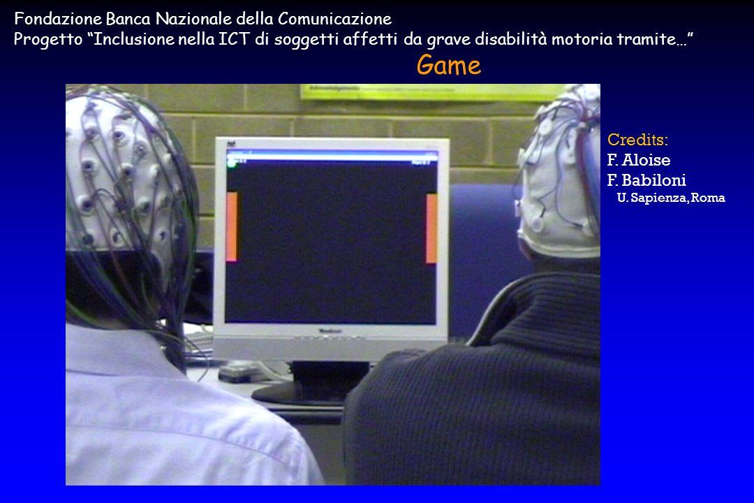 Fondazione Banca Nazionale della Comunicazione Progetto Inclusione nella ICT di soggetti affetti da grave disabilità motoria tramite… Game Credits: F.