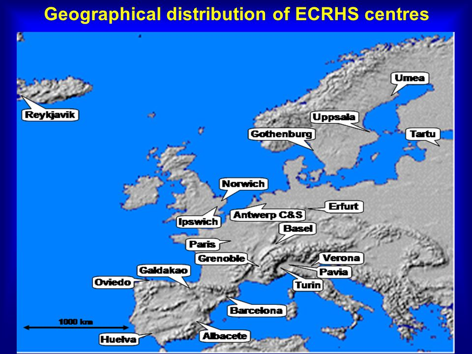 Geographical distribution of ECRHS centres