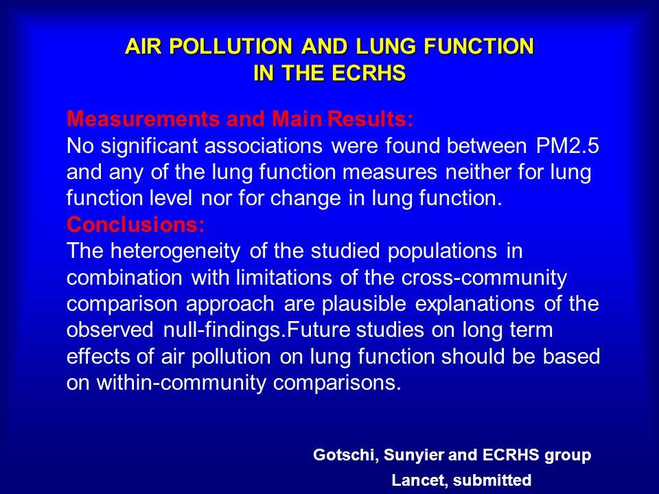 AIR POLLUTION AND LUNG FUNCTION IN THE ECRHS Measurements and Main Results: No significant associations were found between PM2.5 and any of the lung f