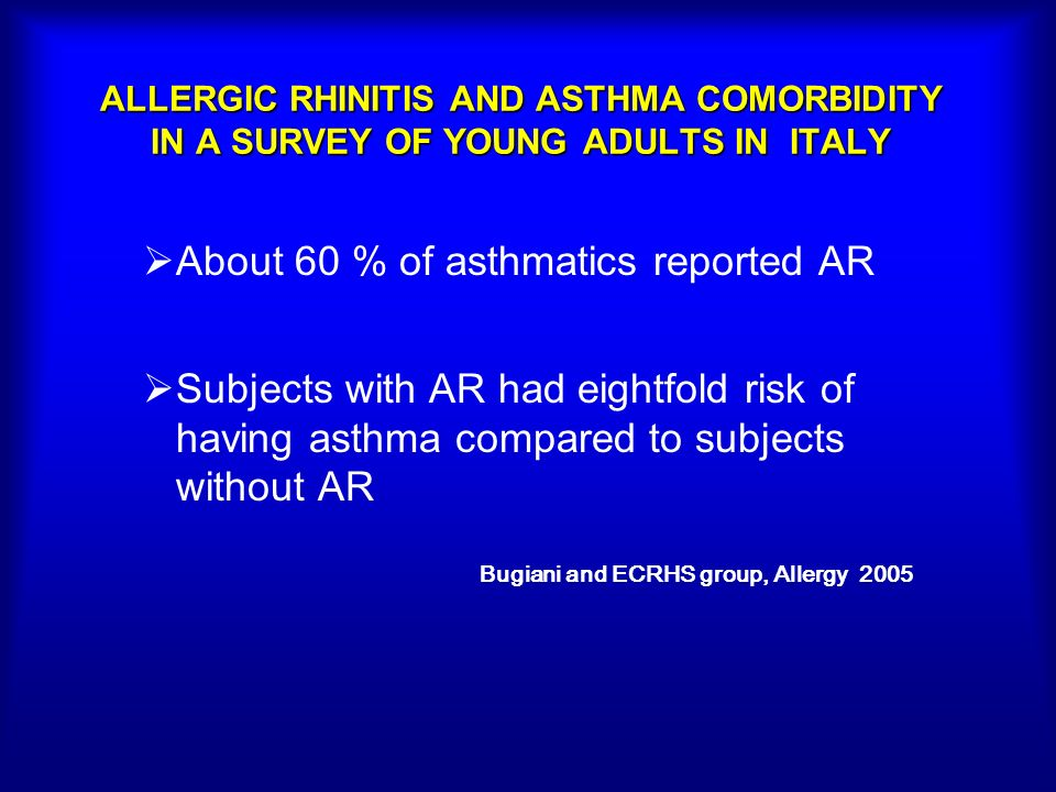 ALLERGIC RHINITIS AND ASTHMA COMORBIDITY IN A SURVEY OF YOUNG ADULTS IN ITALY About 60 % of asthmatics reported AR Subjects with AR had eightfold risk