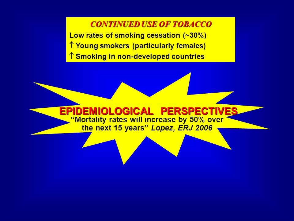 EPIDEMIOLOGICAL PERSPECTIVES CONTINUED USE OF TOBACCO Low rates of smoking cessation (~30%) Young smokers (particularly females) Smoking in non-develo