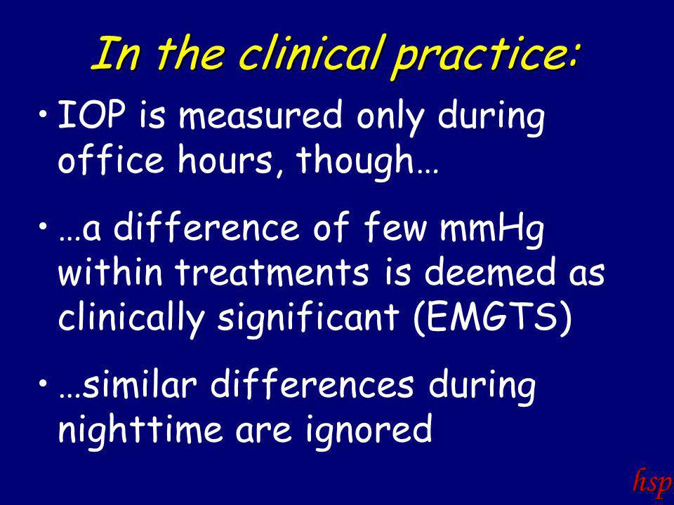 In the clinical practice: IOP is measured only during office hours, though… …a difference of few mmHg within treatments is deemed as clinically significant (EMGTS) …similar differences during nighttime are ignored hsp