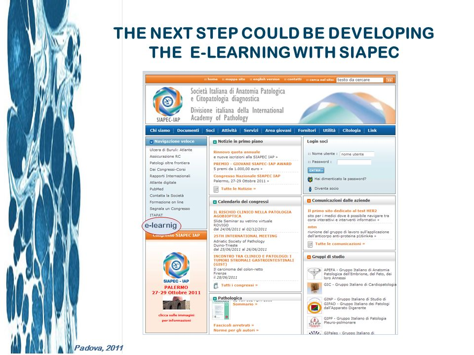 THE NEXT STEP COULD BE DEVELOPING THE E-LEARNING WITH SIAPEC e-learnig Padova, 2011