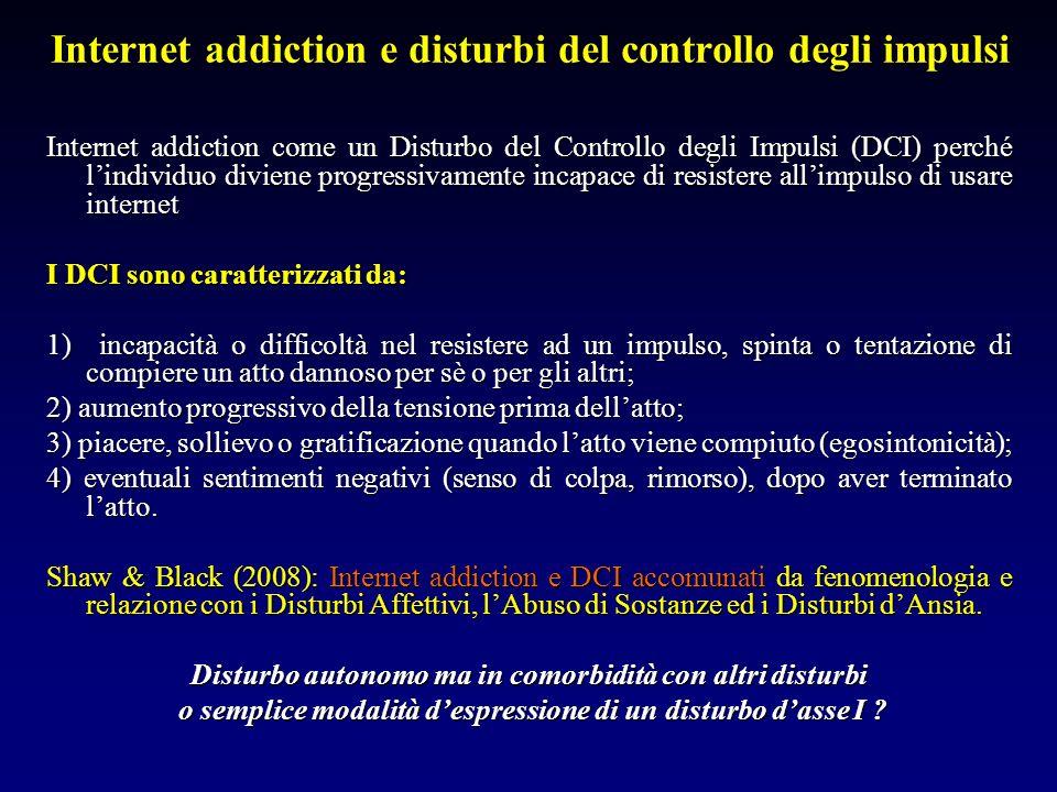 Internet addiction e disturbi del controllo degli impulsi Internet addiction come un Disturbo del Controllo degli Impulsi (DCI) perché lindividuo divi