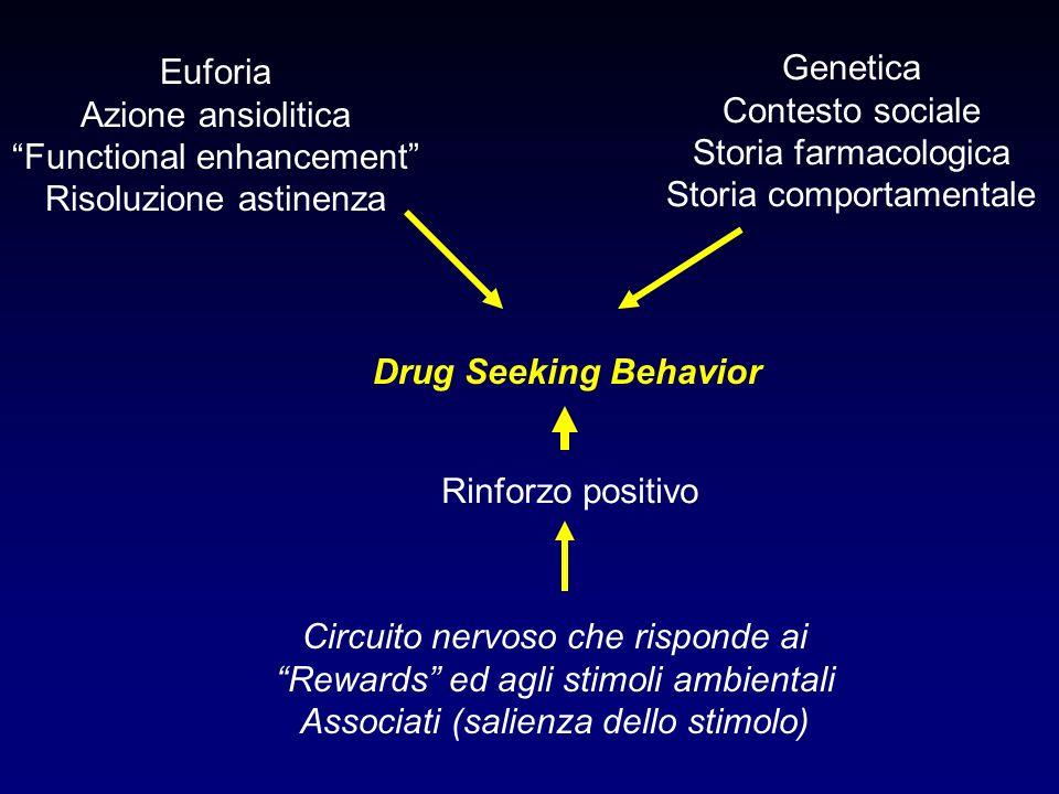 Drug Seeking Behavior Rinforzo positivo Circuito nervoso che risponde ai Rewards ed agli stimoli ambientali Associati (salienza dello stimolo) Euforia