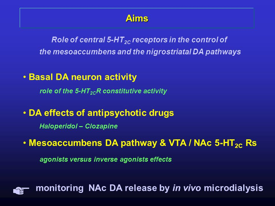 Aims Role of central 5-HT 2C receptors in the control of the mesoaccumbens and the nigrostriatal DA pathways DA effects of antipsychotic drugs Haloper