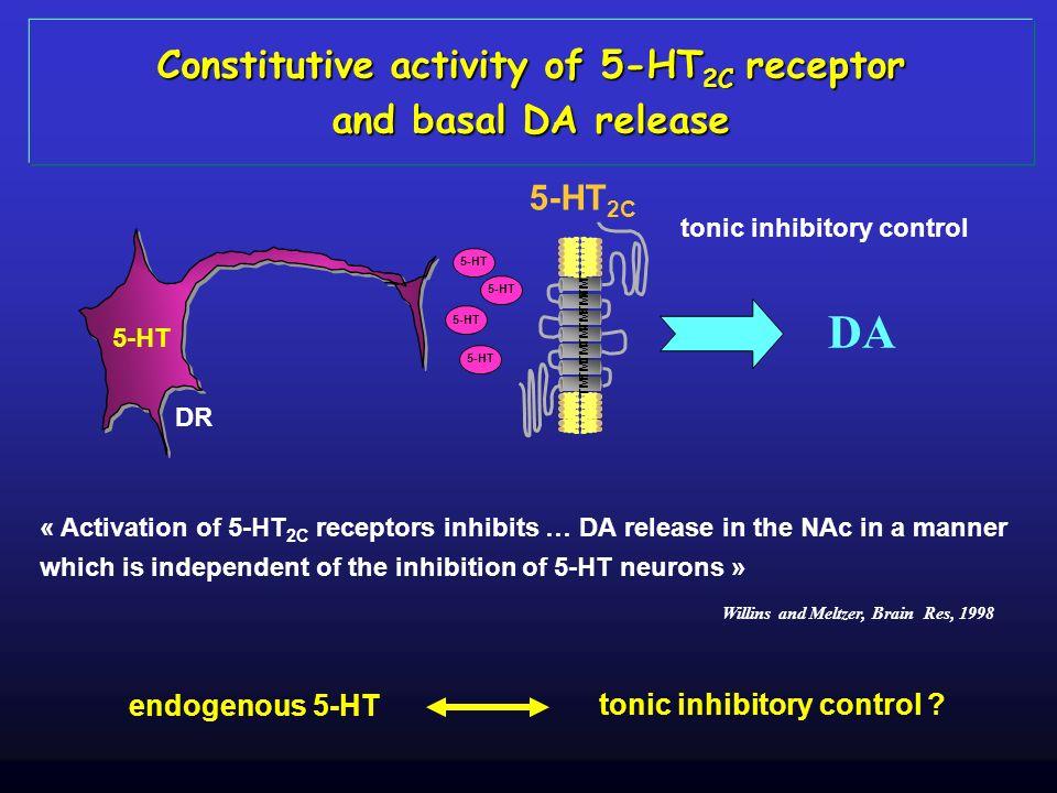 TM1TM2TM3TM4TM5TM6TM7 DA tonic inhibitory control Constitutive activity of 5-HT 2C receptor and basal DA release « Activation of 5-HT 2C receptors inh