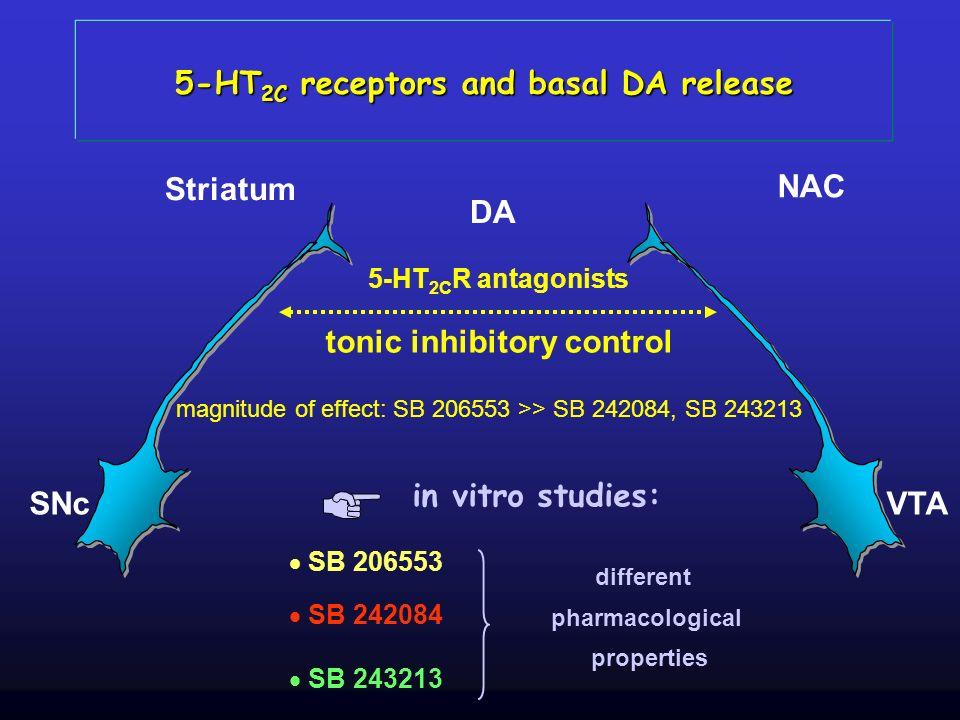 SNc Striatum VTA NAC 5-HT 2C R antagonists 5-HT 2C receptors and basal DA release DA tonic inhibitory control magnitude of effect: SB 206553 >> SB 242