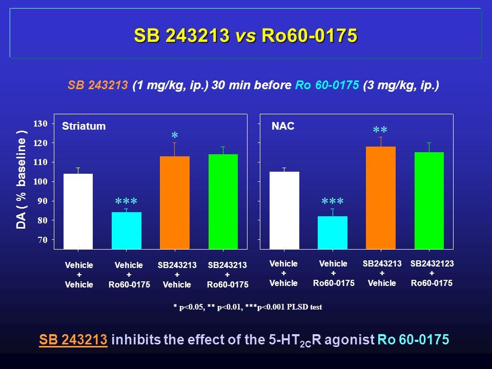 SB 243213 (1 mg/kg, ip.) 30 min before Ro 60-0175 (3 mg/kg, ip.) DA ( % baseline ) Striatum NAC Vehicle + Vehicle + Ro60-0175 SB243213 + Vehicle SB243