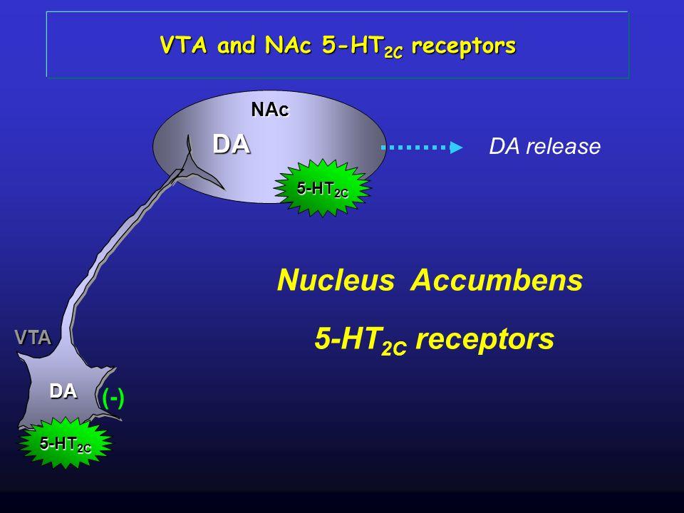 VTA DA NAc 5-HT 2C (-) DA 5-HT 2C DA release VTA and NAc 5-HT 2C receptors Nucleus Accumbens 5-HT 2C receptors