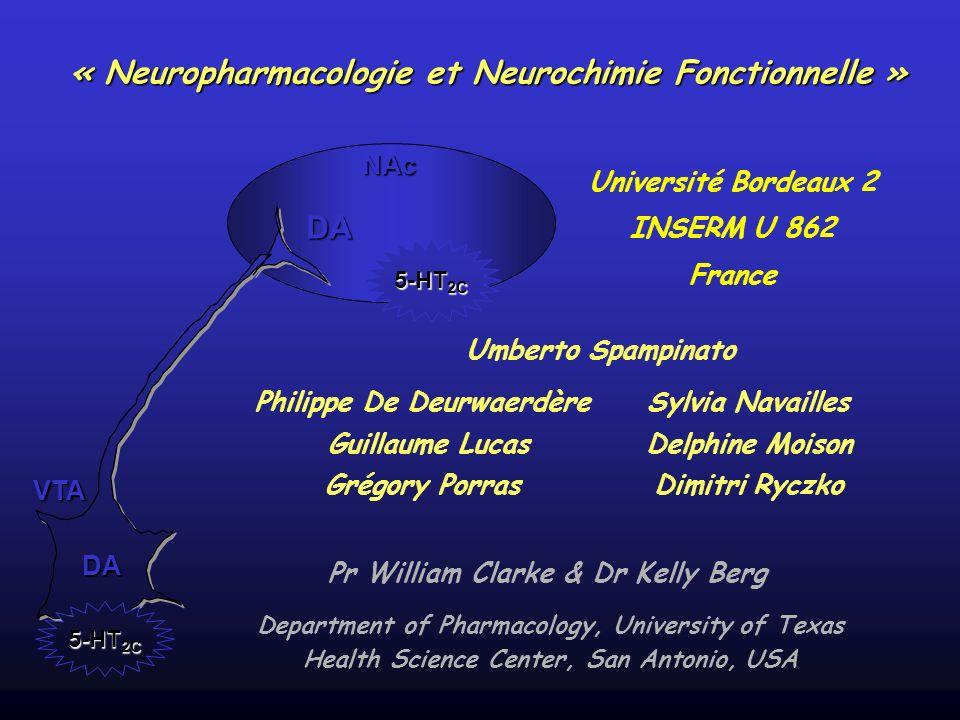 VTA NAc 5-HT 2C DA DA Sylvia Navailles Delphine Moison Dimitri Ryczko « Neuropharmacologie et Neurochimie Fonctionnelle » Université Bordeaux 2 INSERM