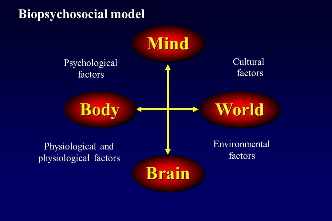 Psychological factors Physiological and physiological factors Environmental factors Cultural factors Biopsychosocial model MindMind BrainBrain WorldWorldBodyBody