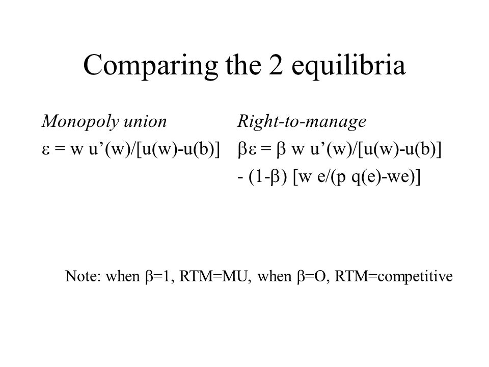 Comparing the 2 equilibria Monopoly union = w u(w)/[u(w)-u(b)] Right-to-manage = w u(w)/[u(w)-u(b)] - (1- ) [w e/(p q(e)-we)] Note: when =1, RTM=MU, when =O, RTM=competitive