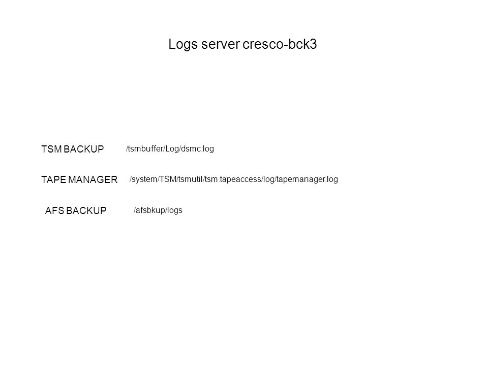 Logs server cresco-bck3 TSM BACKUP /tsmbuffer/Log/dsmc.log /system/TSM/tsmutil/tsm.tapeaccess/log/tapemanager.log TAPE MANAGER /afsbkup/logs AFS BACKU