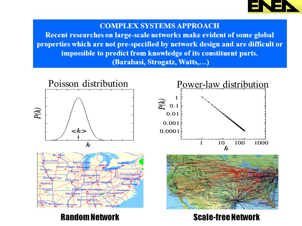 COMPLEX SYSTEMS APPROACH Recent researches on large-scale networks make evident of some global properties which are not pre-specified by network desig