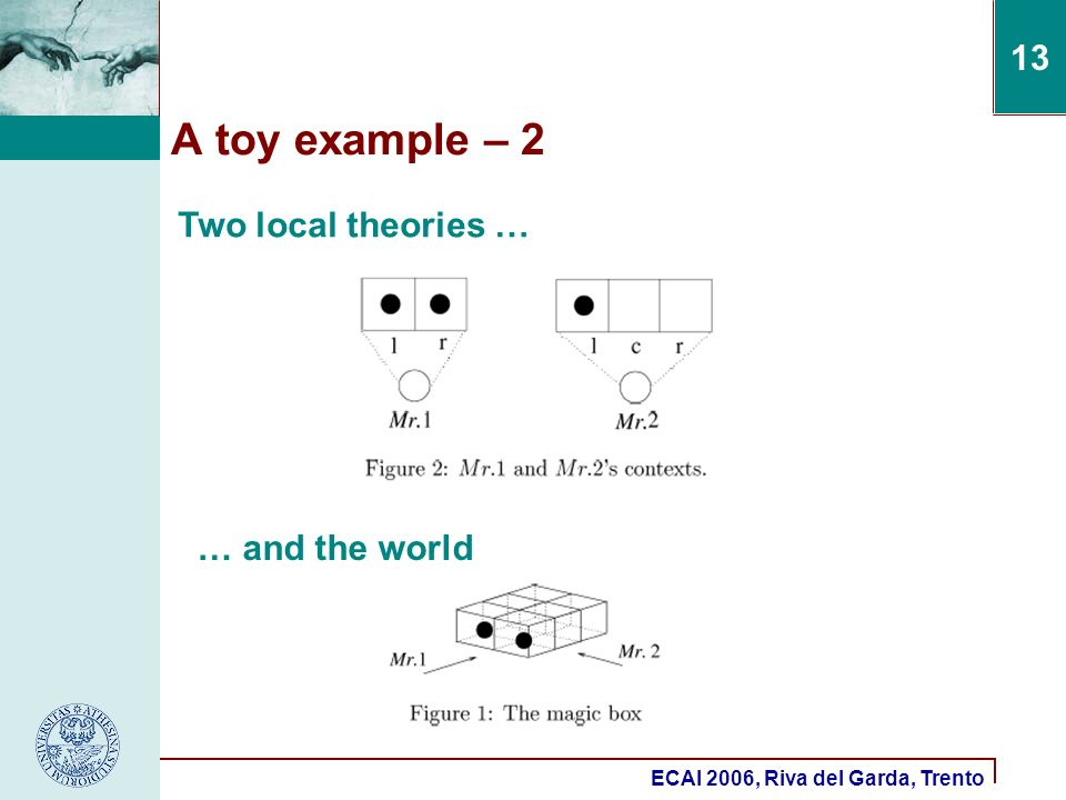 ECAI 2006, Riva del Garda, Trento 13 A toy example – 2 Two local theories … … and the world