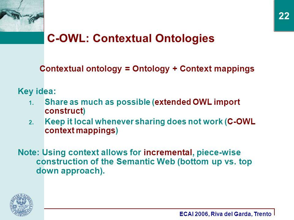ECAI 2006, Riva del Garda, Trento 22 C-OWL: Contextual Ontologies Contextual ontology = Ontology + Context mappings Key idea: 1.