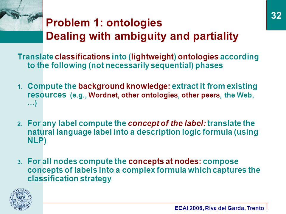 ECAI 2006, Riva del Garda, Trento 32 Translate classifications into (lightweight) ontologies according to the following (not necessarily sequential) phases 1.