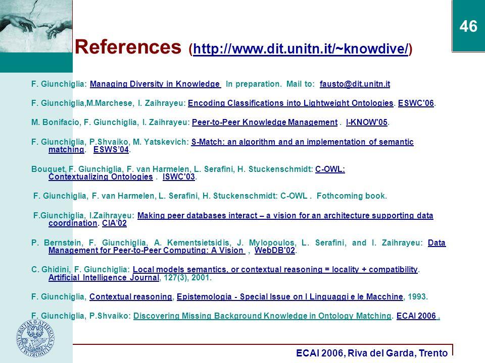ECAI 2006, Riva del Garda, Trento 46 References (http://www.dit.unitn.it/~knowdive/)http://www.dit.unitn.it/~knowdive/ F. Giunchiglia: Managing Divers