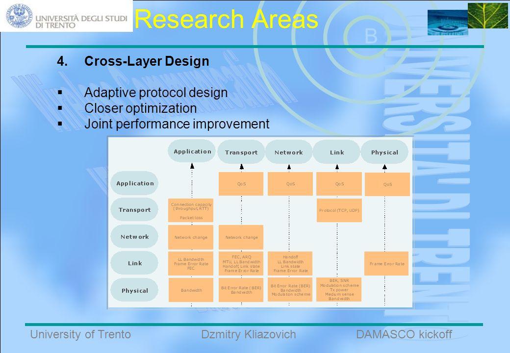 B University of TrentoDAMASCO kickoffDzmitry Kliazovich Research Areas 4.Cross-Layer Design Adaptive protocol design Closer optimization Joint performance improvement