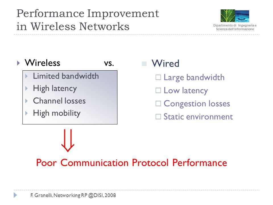 Dipartimento di Ingegneria e Scienza dellinformazione F. Granelli, Networking RP @DISI, 2008 Performance Improvement in Wireless Networks Wireless vs.
