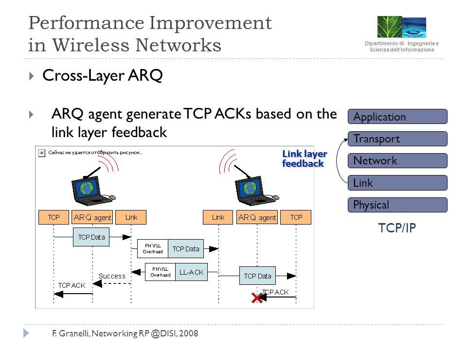 Dipartimento di Ingegneria e Scienza dellinformazione F. Granelli, Networking RP @DISI, 2008 Performance Improvement in Wireless Networks Cross-Layer