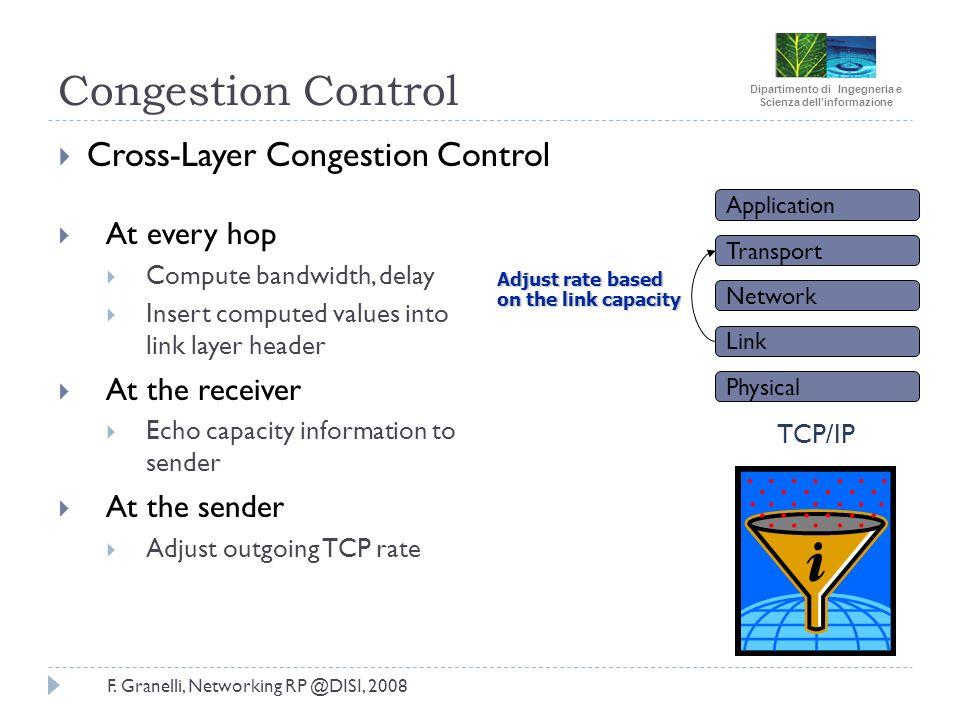 Dipartimento di Ingegneria e Scienza dellinformazione F. Granelli, Networking RP @DISI, 2008 Congestion Control Cross-Layer Congestion Control At ever