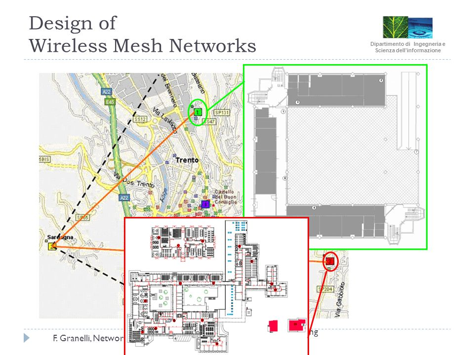 Dipartimento di Ingegneria e Scienza dellinformazione F. Granelli, Networking RP @DISI, 2008 Design of Wireless Mesh Networks WOMEN Project Final Meet