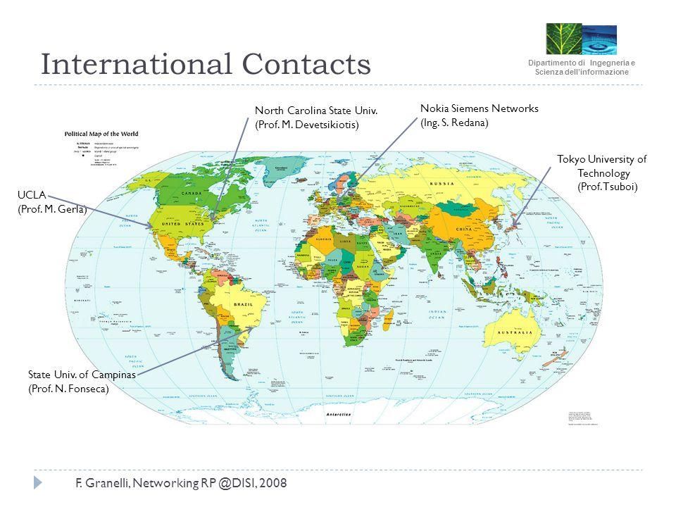 Dipartimento di Ingegneria e Scienza dellinformazione F. Granelli, Networking RP @DISI, 2008 International Contacts State Univ. of Campinas (Prof. N.
