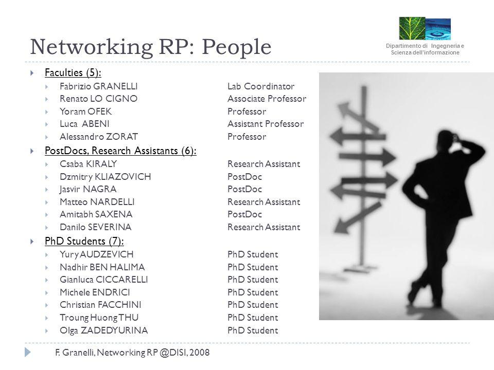 Dipartimento di Ingegneria e Scienza dellinformazione F. Granelli, Networking RP @DISI, 2008 Networking RP: People Faculties (5): Fabrizio GRANELLI La