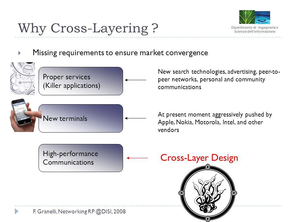 Dipartimento di Ingegneria e Scienza dellinformazione F. Granelli, Networking RP @DISI, 2008 Why Cross-Layering ? Missing requirements to ensure marke
