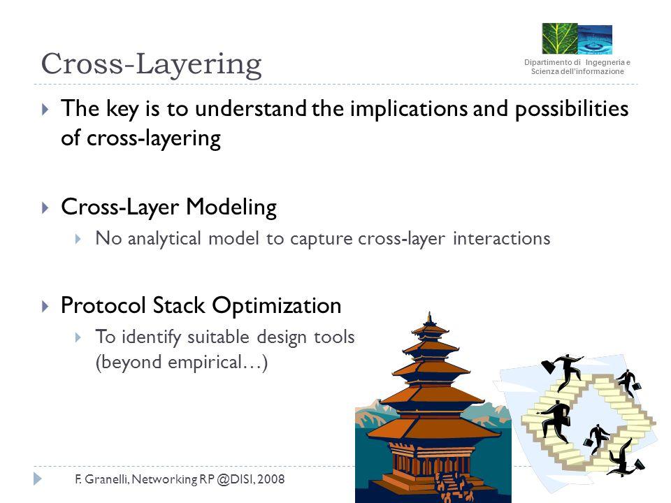 Dipartimento di Ingegneria e Scienza dellinformazione F. Granelli, Networking RP @DISI, 2008 Cross-Layering The key is to understand the implications