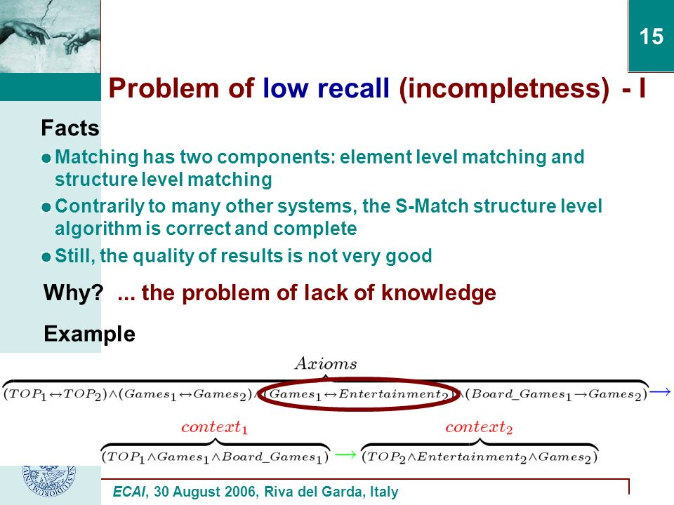 ECAI, 30 August 2006, Riva del Garda, Italy 15 Problem of low recall (incompletness) - I Facts Matching has two components: element level matching and structure level matching Contrarily to many other systems, the S-Match structure level algorithm is correct and complete Still, the quality of results is not very good Why ...