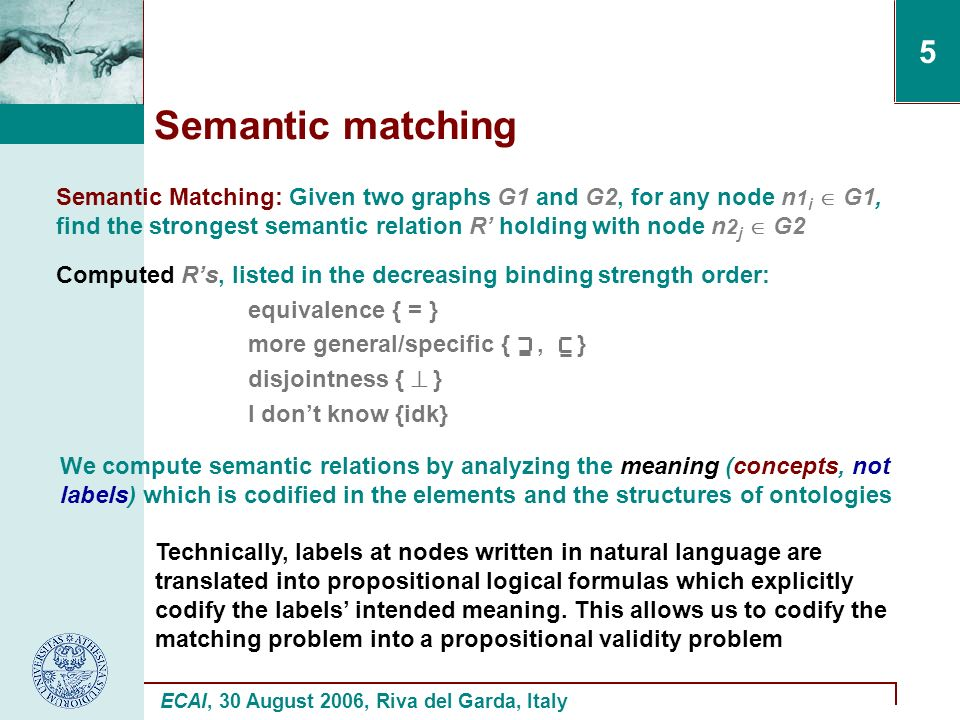 ECAI, 30 August 2006, Riva del Garda, Italy 5 Semantic matching Semantic Matching: Given two graphs G1 and G2, for any node n 1 i G1, find the strongest semantic relation R holding with node n 2 j G2 Computed Rs, listed in the decreasing binding strength order: equivalence { = } more general/specific {, } disjointness { } I dont know {idk} We compute semantic relations by analyzing the meaning (concepts, not labels) which is codified in the elements and the structures of ontologies Technically, labels at nodes written in natural language are translated into propositional logical formulas which explicitly codify the labels intended meaning.