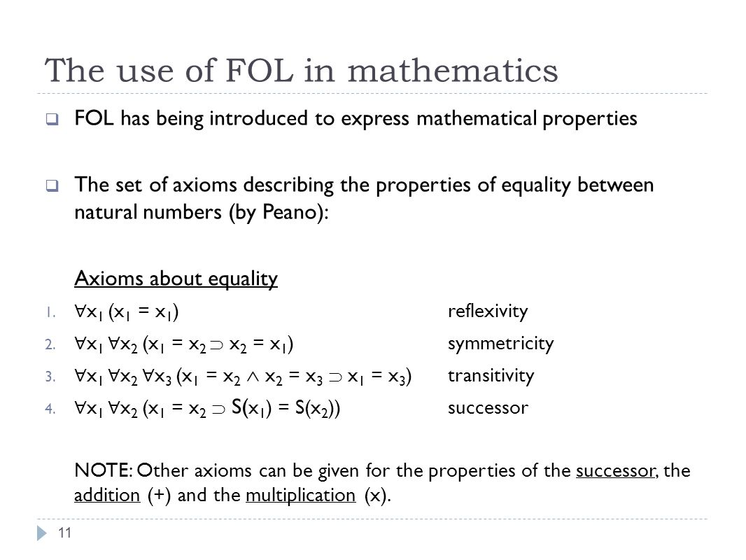 The use of FOL in mathematics 11 FOL has being introduced to express mathematical properties The set of axioms describing the properties of equality between natural numbers (by Peano): Axioms about equality 1.
