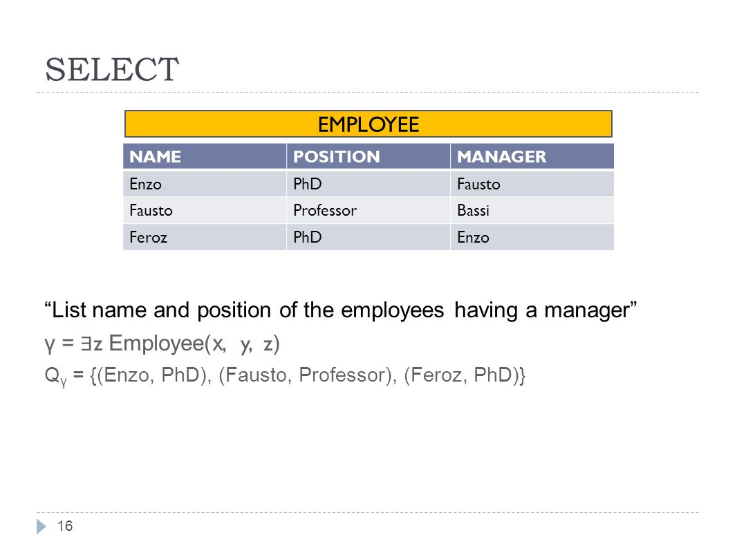 SELECT List name and position of the employees having a manager γ = z Employee(x, y, z ) Q γ = {(Enzo, PhD), (Fausto, Professor), (Feroz, PhD)} 16 NAMEPOSITIONMANAGER EnzoPhDFausto ProfessorBassi FerozPhDEnzo EMPLOYEE