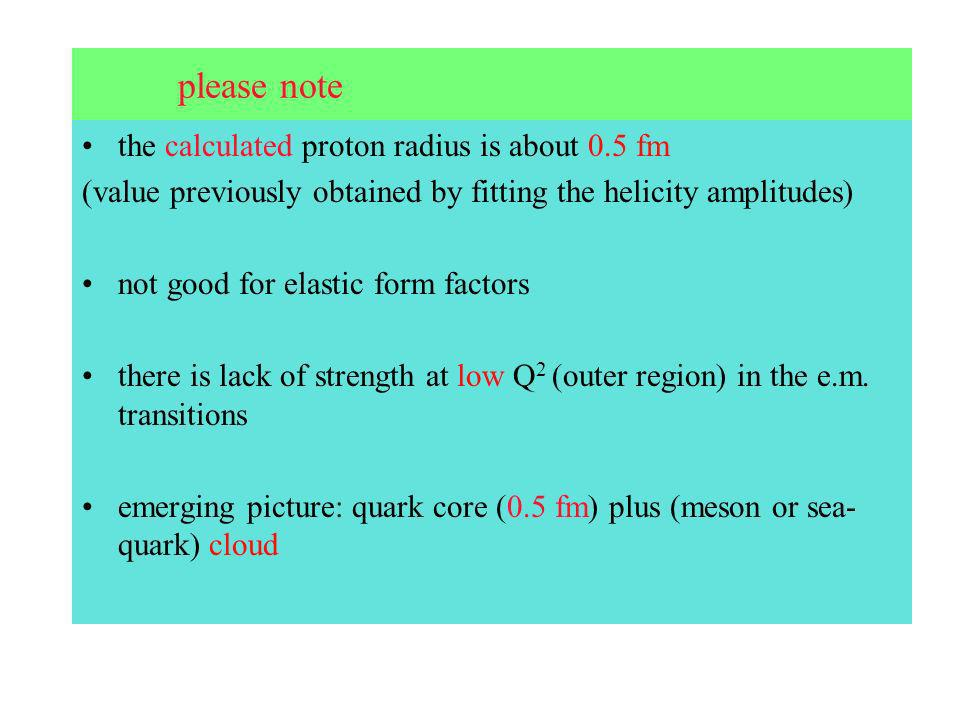 please note the calculated proton radius is about 0.5 fm (value previously obtained by fitting the helicity amplitudes) not good for elastic form factors there is lack of strength at low Q 2 (outer region) in the e.m.